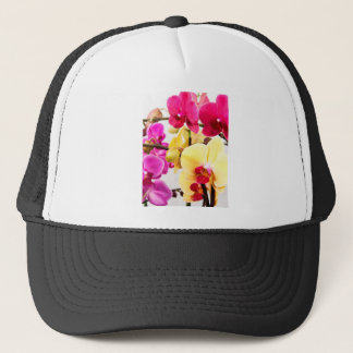 Vibrant Pink and White Orchid Flowers Trucker Hat