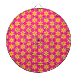 Vibrant Pink and Yellow Floral Abstract Pattern Dartboard With Darts