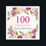 "Vibrant Pink Botanical Floral 100th Birthday Party Napkin<br><div class=""desc"">Vibrant Pink Botanical Floral 100th Birthday Party Napkin