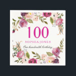 """Vibrant Pink Botanical Floral 100th Birthday Party Napkin<br><div class=""""desc"""">Vibrant Pink Botanical Floral 100th Birthday Party Napkin  See our store for matching invitation,  Envelope and napkins Also matching coffee mugs</div>"""