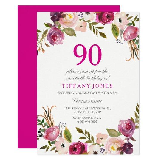 Vibrant Pink Botanical Floral 90th Birthday Invite