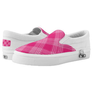 Vibrant Pink Check Pattern Slip-On Sneakers