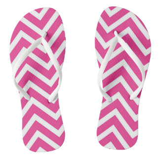 Vibrant Pink Chevron Pattern Flip Flops
