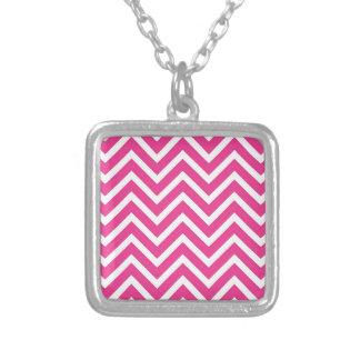 Vibrant Pink Chevron Pattern Square Pendant Necklace