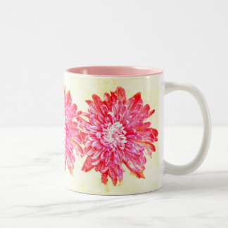 vibrant pink chrysanthemum coffee mug
