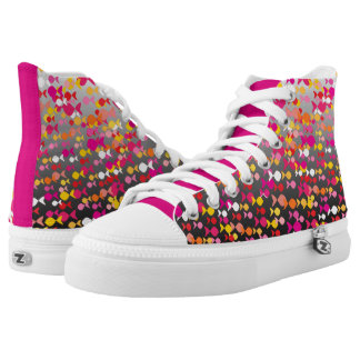 Vibrant Pink Fish Pattern Cheerful Dramatic Bold High-Top Sneakers