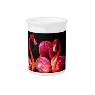 Vibrant Pink Flamingos and Black Background Pitchers