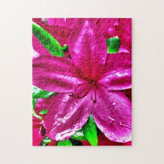 Vibrant Pink Floral Azalea Jigsaw Puzzle