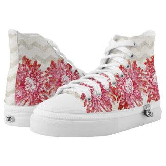 Vibrant pink flower pattern with chevron High-Top sneakers
