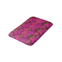 Vibrant Pink Foliage Pattern Bathroom Mat