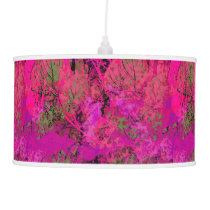 Vibrant Pink Foliage Pattern Ceiling Lamp