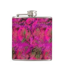 Vibrant Pink Foliage Pattern Hip Flask