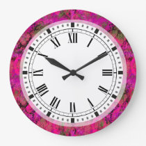 Vibrant Pink Foliage Pattern Large Clock