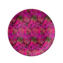 Vibrant Pink Foliage Pattern Plate