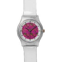 Vibrant Pink Foliage Pattern Wristwatch
