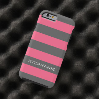 Vibrant Pink & Gray Rugby Stripes with Custom Name Tough iPhone 6 Case
