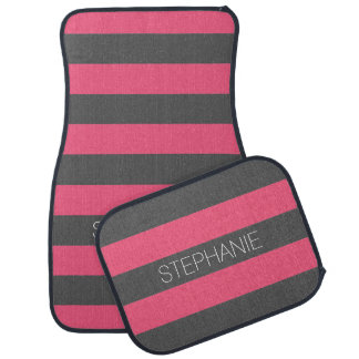 Vibrant Pink & Gray Rugby Stripes with Custom Name Floor Mat