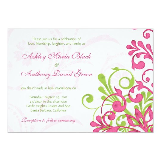Vibrant Pink Green White Floral Wedding Invitation