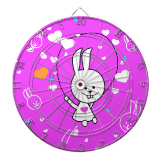 Vibrant Pink Happy Jump Roping Bunny Dart Boards