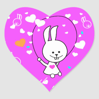 Vibrant Pink Happy Jump Roping Bunny Heart Sticker