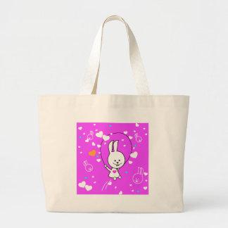 Vibrant Pink Happy Jump Roping Bunny Jumbo Tote Bag