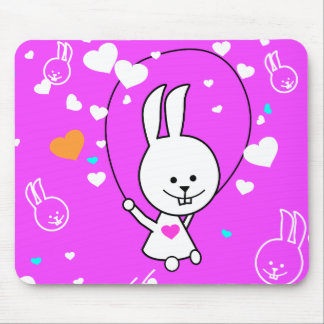 Vibrant Pink Happy Jump Roping Bunny Mouse Pad