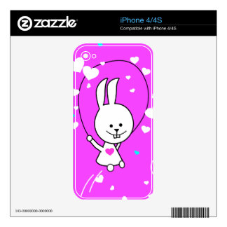 Vibrant Pink Happy Jump Roping Bunny Skin For iPhone 4S