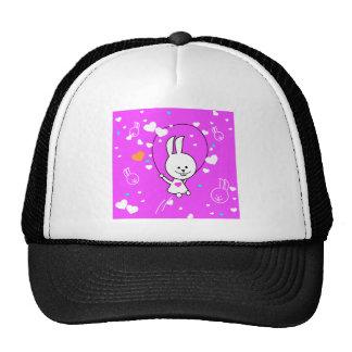 Vibrant Pink Happy Jump Roping Bunny Trucker Hat