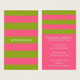 Vibrant Pink & Lime Rugby Stripes with Custom Name Business Card