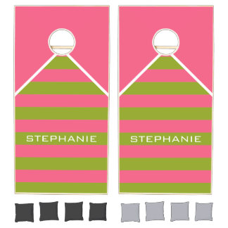 Vibrant Pink & Lime Rugby Stripes with Custom Name Cornhole Set