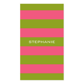 Vibrant Pink & Lime Rugby Stripes with Custom Name Double-Sided Standard Business Cards (Pack Of 100)