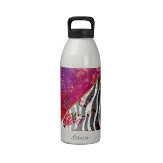 Vibrant Pink Nebula Vintage Floral Zebra Print Drinking Bottles
