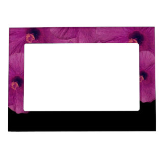 Vibrant Pink Purple Flowers Magnetic Frame