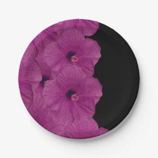 Vibrant Pink Purple Flowers Paper Plate