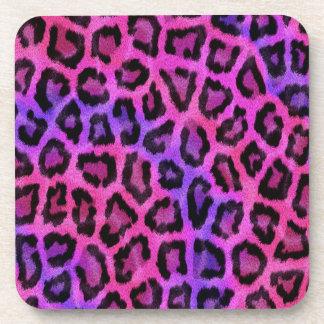 Vibrant Pink Purple Leopard Fur Print Drink Coaster