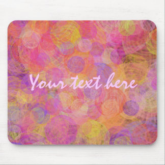 Vibrant pink, purple & yellow vintage swirls mouse pad