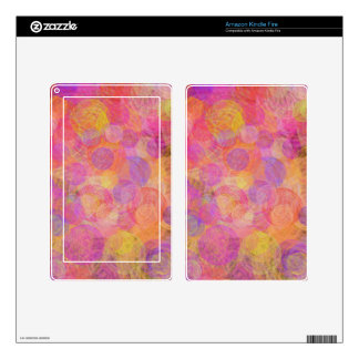 Vibrant pink, purple & yellow vintage swirls skins for kindle fire