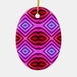 Vibrant Pink Red Flourescent Lips Shaped Pattern Ceramic Ornament