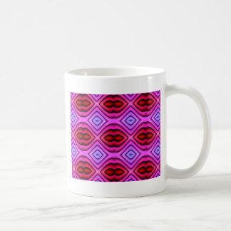 Vibrant Pink Red Flourescent Lips Shaped Pattern Coffee Mug