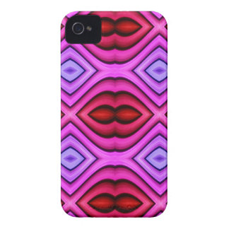 Vibrant Pink Red Flourescent Lips Shaped Pattern iPhone 4 Case