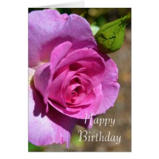 Vibrant Pink Rose Birthday Card