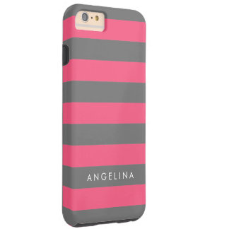 Vibrant Pink Striped Pattern Custom Name Tough iPhone 6 Plus Case