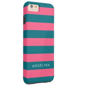 Vibrant Pink Striped Pattern Custom Name Tough iPhone 6 Plus Case
