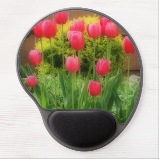 Vibrant Pink Tulips Gel Mouse Pad