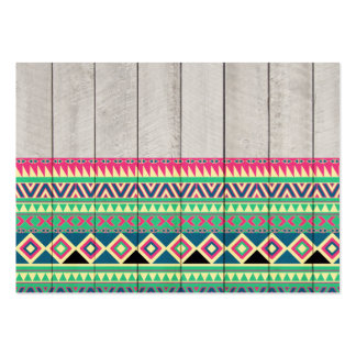 Vibrant Pink Turquoise Aztec Pattern Gray Wood Large Business Cards (Pack Of 100)