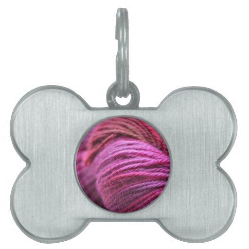 Vibrant Pink Yarn Pet Name Tag