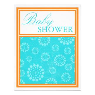 Vibrant Pop Aqua Orange Baby Shower Invitations
