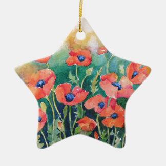 Vibrant Poppies Ceramic Star Decoration