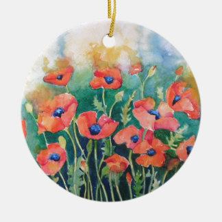 Vibrant Poppies Round Ceramic Decoration