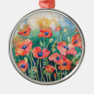 Vibrant Poppies Silver-Colored Round Decoration